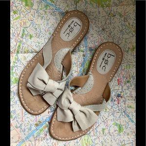 Tan BOC bow tie leather flip flops